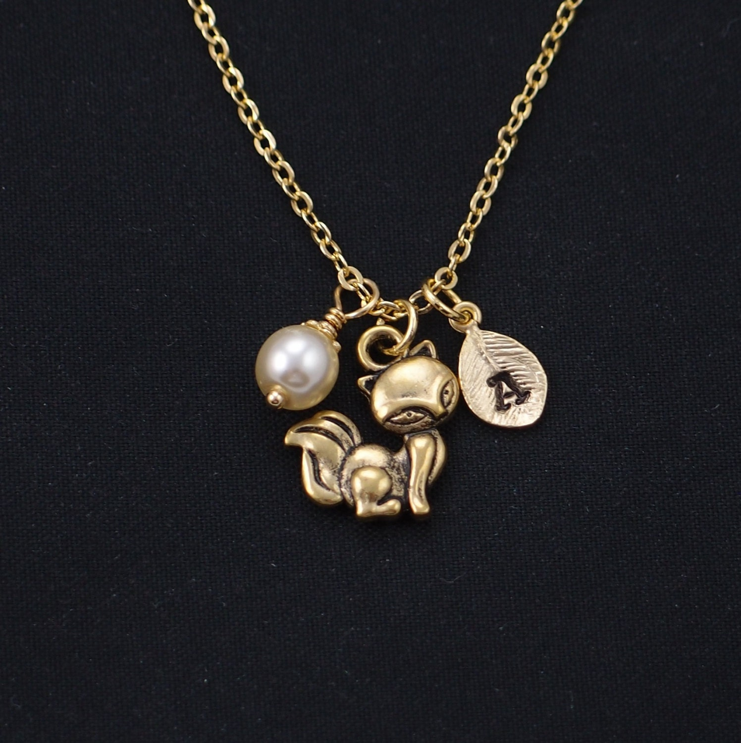 fox necklace gold filled initial necklace Swarovski pearl
