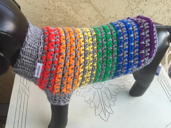 Rainbow Dog Sweater Crochet Dog Sweater Dog Clothing Dog
