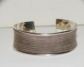 Vintage 925 Sterling Silver Stamped Concave Or Corset Cuff Bracelet.
