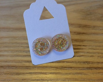Free UK Shipping | Handmade Button Earrings by Jodes | Pink/Glitter | Matching Ring Available