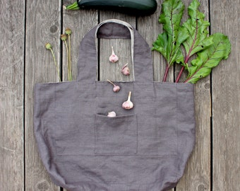 Linen tote bag / market  bag / shopping bag / grey linen / large tote / beach bag / summer / green living / eco