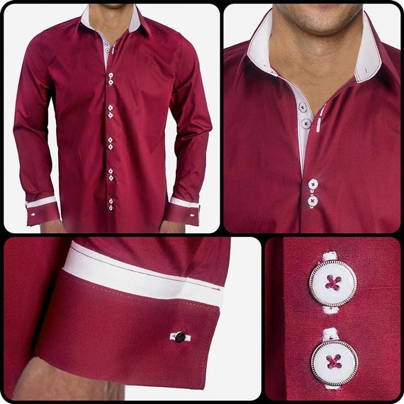 Maroon with white french cuff dress shirt made by for White french cuff shirt