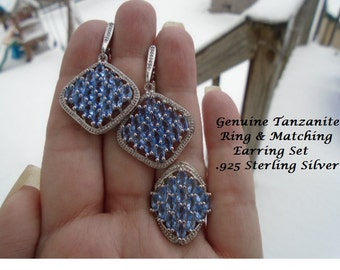 Tanzanite Ring & Matching Earrings .925 Sterling Silver