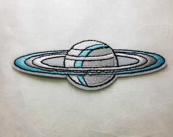 Saturn Iron on Patch (L2) - Saturn Applique Embroidered Iron on Patch- Size 11.5x4.5 cm
