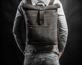 Wool felt and leather backpack Roll top backpack by Kruk Garage Overcoat Collection