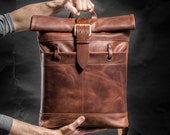 Leather backpack Roll top backpack by Kruk Garage Made of cognac brown leather with vintage buckle WW2 Men's backpack Birthday gift