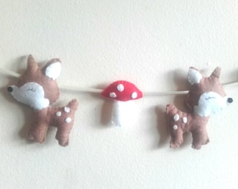 Woodland garland, deer & toadstool garland, nursery wall hanging, nursery decor, toad stools, deer decor, wall hanging, woodland nursery