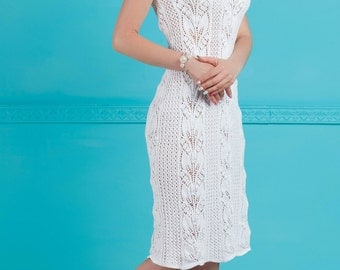White Hand Knitted Dress Open shoulders Lace dress Evening dress Beach dress cotton dress Flowers lace Summer dress Cocktail dress