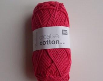 Cotton aran yarn fuchsia colour creative cotton from Rico Design knitting crochet 50g 85m (92 yards) needle size 4-5 EU (US 6-8) Code 13