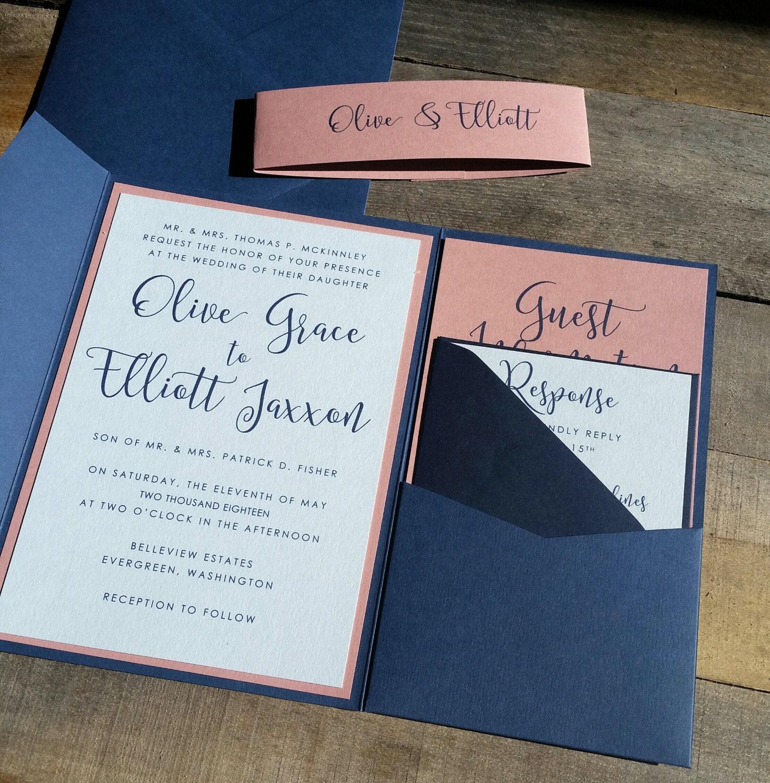 Blue And Pink Wedding Invitation Suite Wedding Invitation