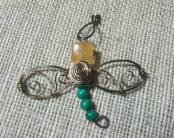 Dragonfly Green malachite and citrine bronze colored wire wrapped pendant