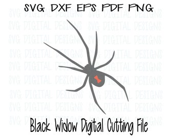 Black Widow Spider Svg Dxf Eps Png Cut File, Digital Designs Clipart Cutting files for Silhouette, Cricut and electronic cutters -