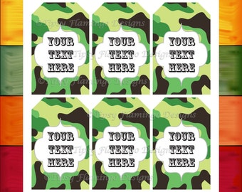 Gift Tags, Baby Shower, Birthday, Thank You, Digital Tags, Party Favor Tags - Camo, Camoflauge, Swag Bags, Instant Download-TFD510