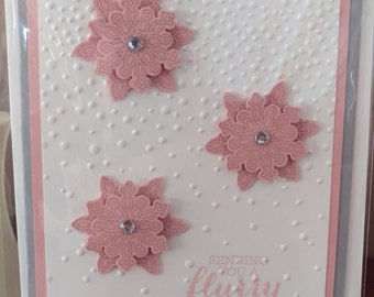 Feminine Christmas card, 50p of each card goes to breast cancer charity. Snow flakes, pink