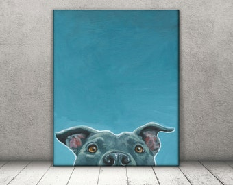 Pit Bull Art -Pit Bull Print - Amstaff Art - Pitbull Canvas - Pit Bull Decor - PitBull Mom - Dog Canvas - Rescue dog art - Blue Pitbull