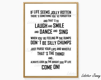 Monty Python, Life of Brian, Always Look on the Bright Side of Life, Movie Poster, Instant Download, Ready to Print, Song Lyrics