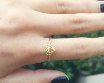 3D Diamond Cutout Ring - statement ring/ gold diamond ring/ diamond cut out/ stacking ring/ gifts for her/ birthday gift/ best friend gift