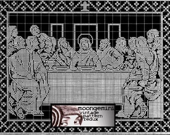 Filet Crochet The Last Supper Vintage Pattern PDF Instant Download