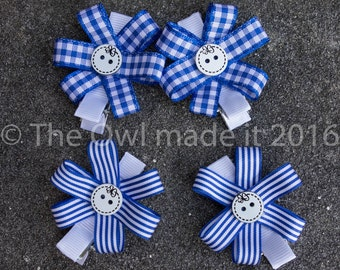 Royal blue hair clips, hair bows, hair accessories, school uniform, kids, back to school, toddler gift, party favor- set of 4, UK seller