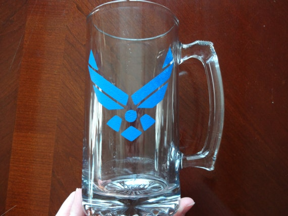 Glass painted military beer mug with Air Force logo painted in blue