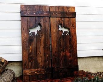 Interior wood doors pair of saloon doors moose decor cafe