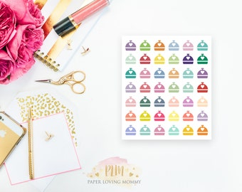 42 Dinner Stickers | Colorful Icon Stickers | Planner Stickers designed for use with the Erin Condren Life Planner | 0939