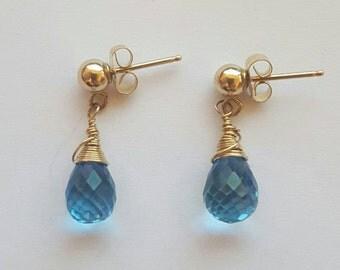 Blue Topaz Gold Filled Earrings