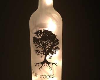 Family - Our Roots Run Deep Wine Bottle Light
