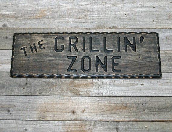 Man Cave Bbq Signs : Bbq sign grillin zone wood man cave by claricesattic