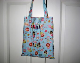 Kids crayon and coloring book tote bag with princess angels and flowers.