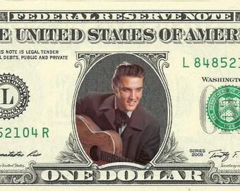 Elvis Presley {Color} Dollar Bill - REAL Money!