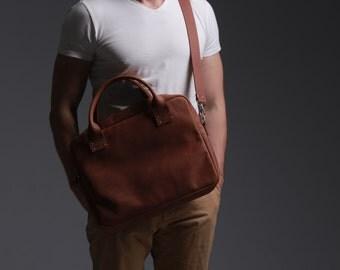 Leather Bag, Men's Leather Bag, Leather Briefcase, Leather Shoulder Bag, Men's Bag, Messenger Bag, Laptop Bag, Business Bag, Brown Bag, Gift