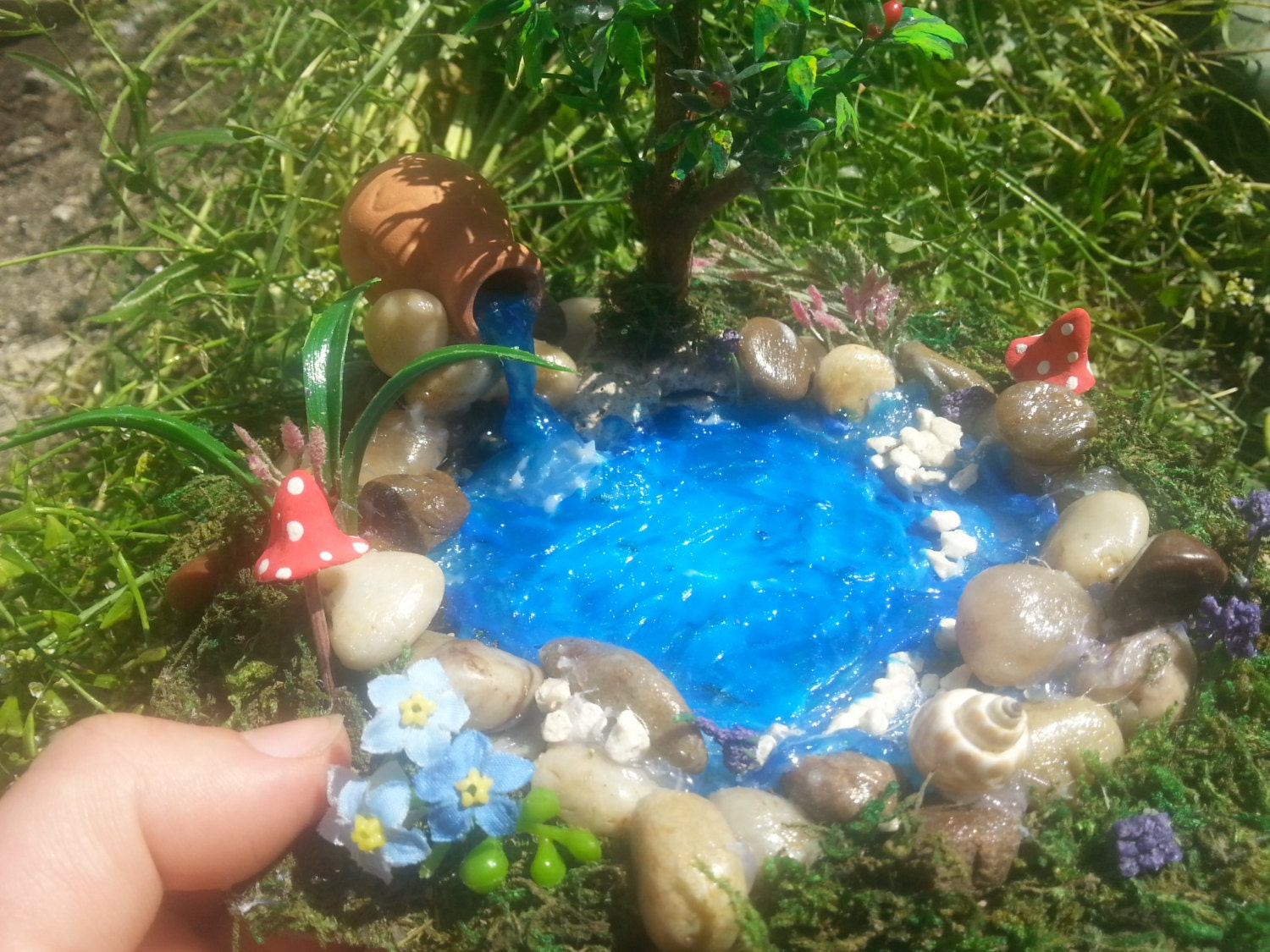 Sale fairy garden pondfairy pond miniature by for Mini garden pool