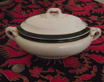 "Lidded Tureen 8 1/2"" long Booths Silicon China Green border gilded sauce boat"