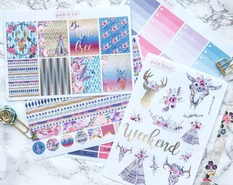 Wild & Free Weekly Kit Planner Stickers to fit the Erin Condren Vertical Lifeplanner TM