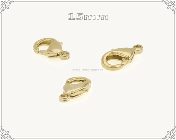 20 pc.+  15mm Solid Brass Lobster Claw Clasp - Gold Plating