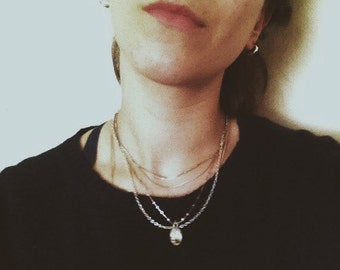 Chain choker// simple thin beaded chain necklace