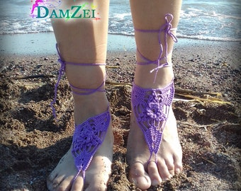 Purple Barefoot Sandal, Crocheted flower Anklet, White Barefoot Sandal, Purple Lace Barefoot Sandal, Wedding, Barefoot Anklet, Foot Jewelry