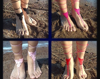 Lace Barefoot Sandal, Barefoot Anklet, Foot Jewelry 12 color barefoot Sandal