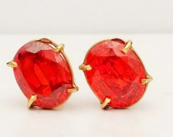 Padparadscha (Orange) Sapphire, Oval Cut, 18k Yellow Gold Stud Earrings 4.0CTW
