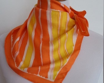 Vera scarf, silk scarf, mod scarf, orange scarf, yellow scarf, yellow Vera scarf, mod Vera scarf, striped silk scarf, striped scarf
