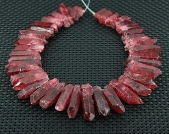New Arrival!Rough Natural Wine Red Quartz Crystal Points Pendants,Faceted Spike Beads Jewelry