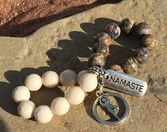 Namaste Bracelet,Tree Position Zen,Petrification of Wood Gemstone,Yoga Zen Jewelry,Jasper Leopard Bracelet,Meditation Yoga Zen,Namaste Charm