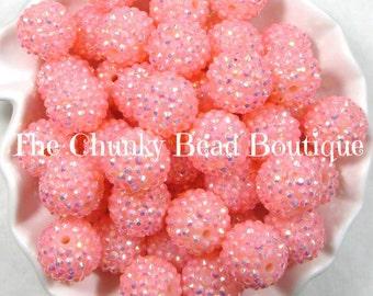 20mm peachy pink translucent AB rhinestone bead