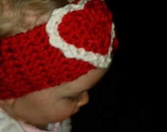 Crocheted Valentine heart ear warmer