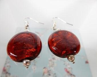 Orange Earrings, Glass Beads, Glass Beaded Earrings, Statement Earrings, Round Beads, Geometric Earrings, Burnt Orange