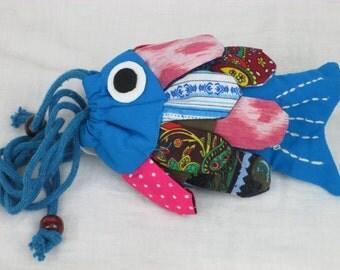 Patchwork Fish Handbag Blue