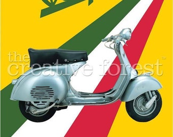 Vespa, Vintage Italian Motor Scooter Advertising Reproduction Rolled CANVAS PRINT 24x32 in.