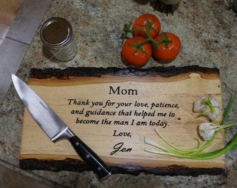 Engraved Cutting Board, Cutting Board, Rustic Cutting Board, Hickory Cutting Board, Live Edge Cutting Board