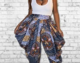 Ankara Print Cowl Pants